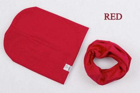 Set: čiapka a nákrčník pre deti a tínedžerov - red