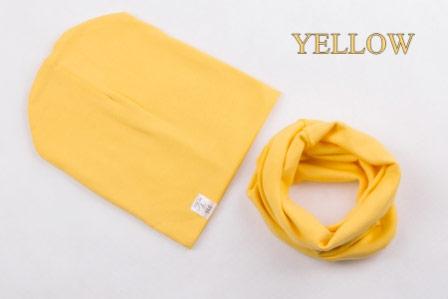 Set: čiapka a nákrčník pre deti a tínedžerov - yellow