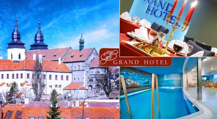 Fotka zľavy: Grand hotel**** - prežite 3 romantické dni v srdci historického českého mesta Třebíč s pamiatkami UNESCO len za 109 € pre dvoch s raňajkami, romantickou večerou pri sviečkach či bazénom.