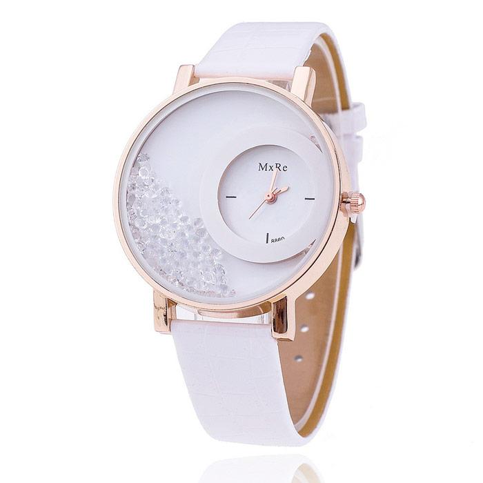 Originálne dámske hodinky s presýpacími kryštálmi - biele