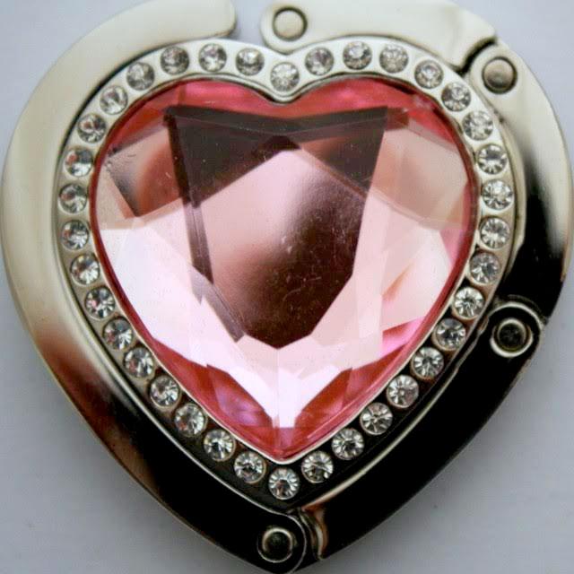 Držiak na kabelku - srdce ružové