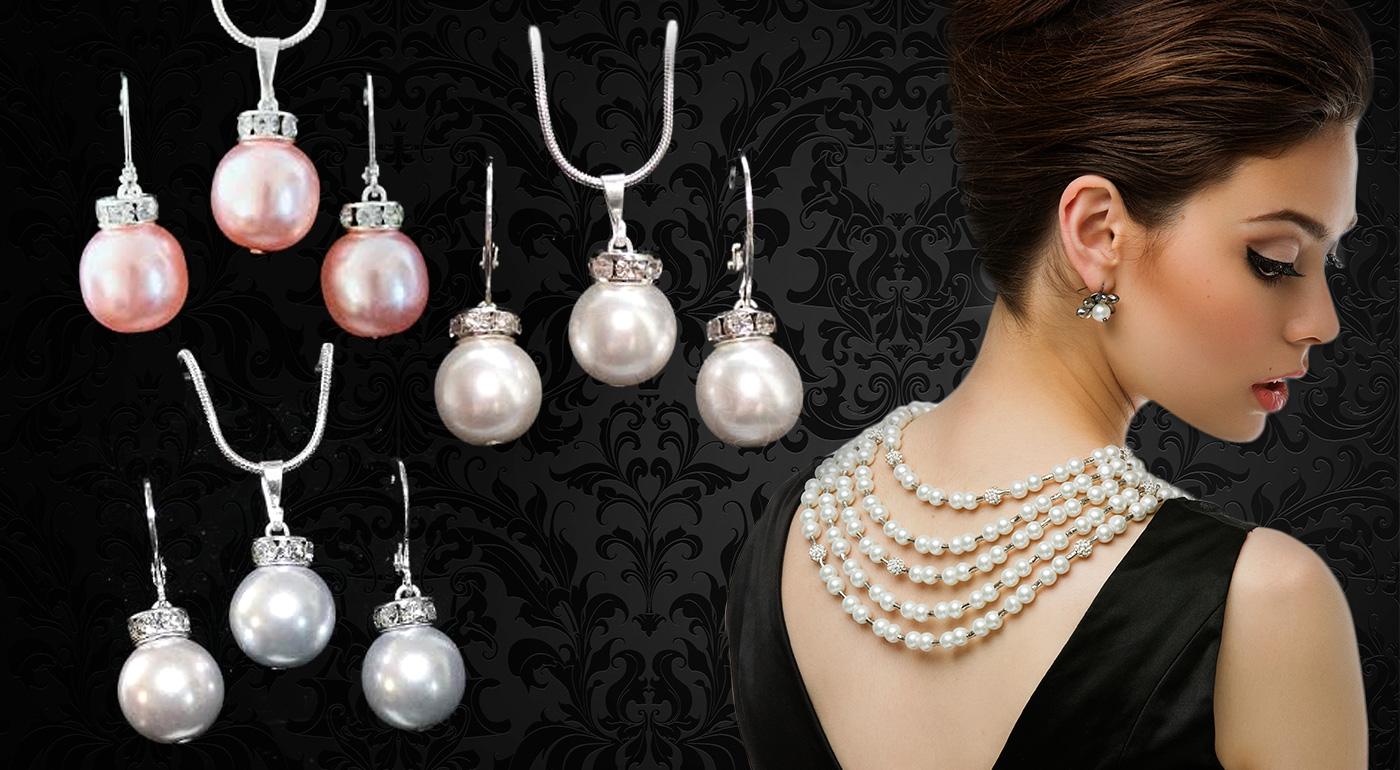 Elegantný perlový set - strieborný prívesok a náušnice so SWAROVSKI kamienkami