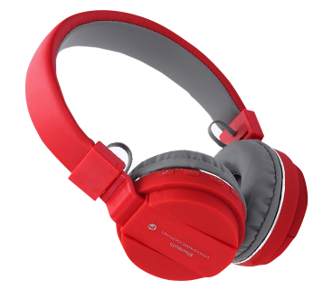 Bezdrôtové bluetooth slúchadla s rádiom - červené