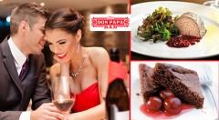 Zľava 52%: Valentínske menu pre dvoch v obľúbenom Don Papa - predjedlo, hlavné jedlo, dezert a k tomu šampanské len za 19,90 €! Siedme nebo chutí pre váš jazýček!