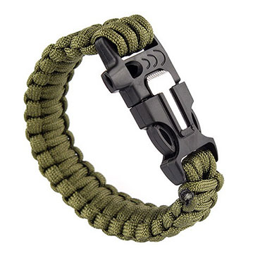 Náramok prežitia s lanom, píšťalkou a kresadlom - khaki zelený