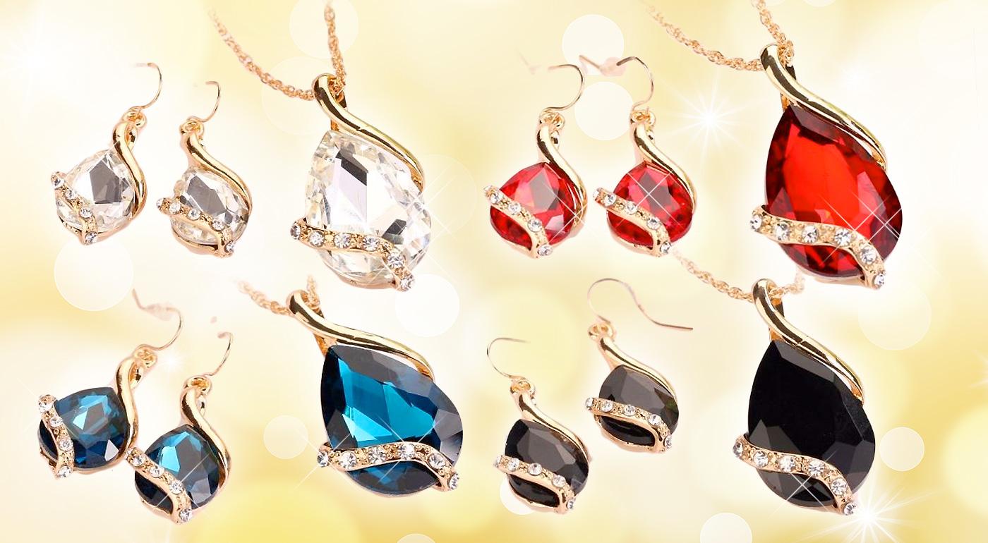 Očarujúci set šperkov Tia - prívesok a náušnice v 4 farbách