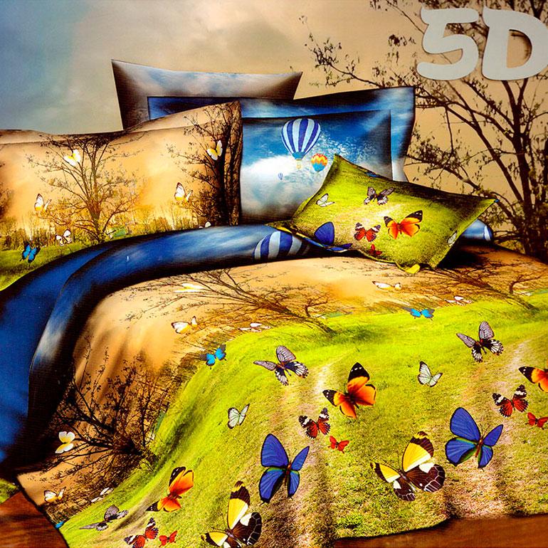 3D posteľné obliečky na jednolôžko -  Motýle (obliečka na vankúš 70 x 90 cm a obliečka na paplón 140 x 200 cm)