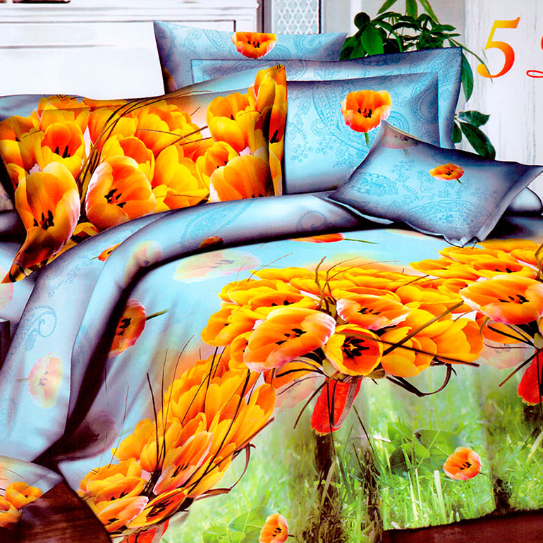 3D posteľné obliečky na jednolôžko -  Tulipány (obliečka na vankúš 70 x 90 cm a obliečka na paplón 140 x 200 cm)