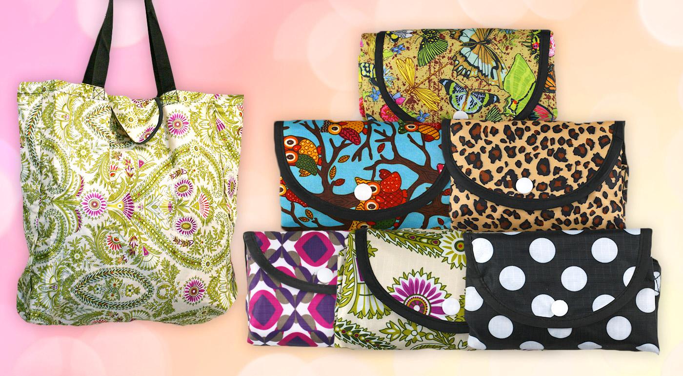 Štýlové skladacie nákupné tašky v krásnych vzoroch - 2 kusy v balení!