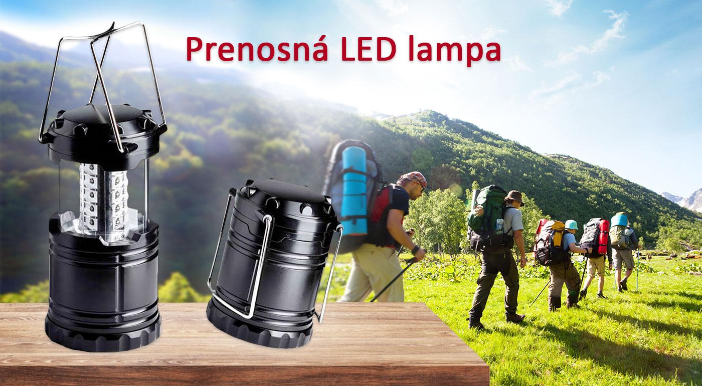 Praktická prenosná LED lampa na využitie v prírode i domácnosti