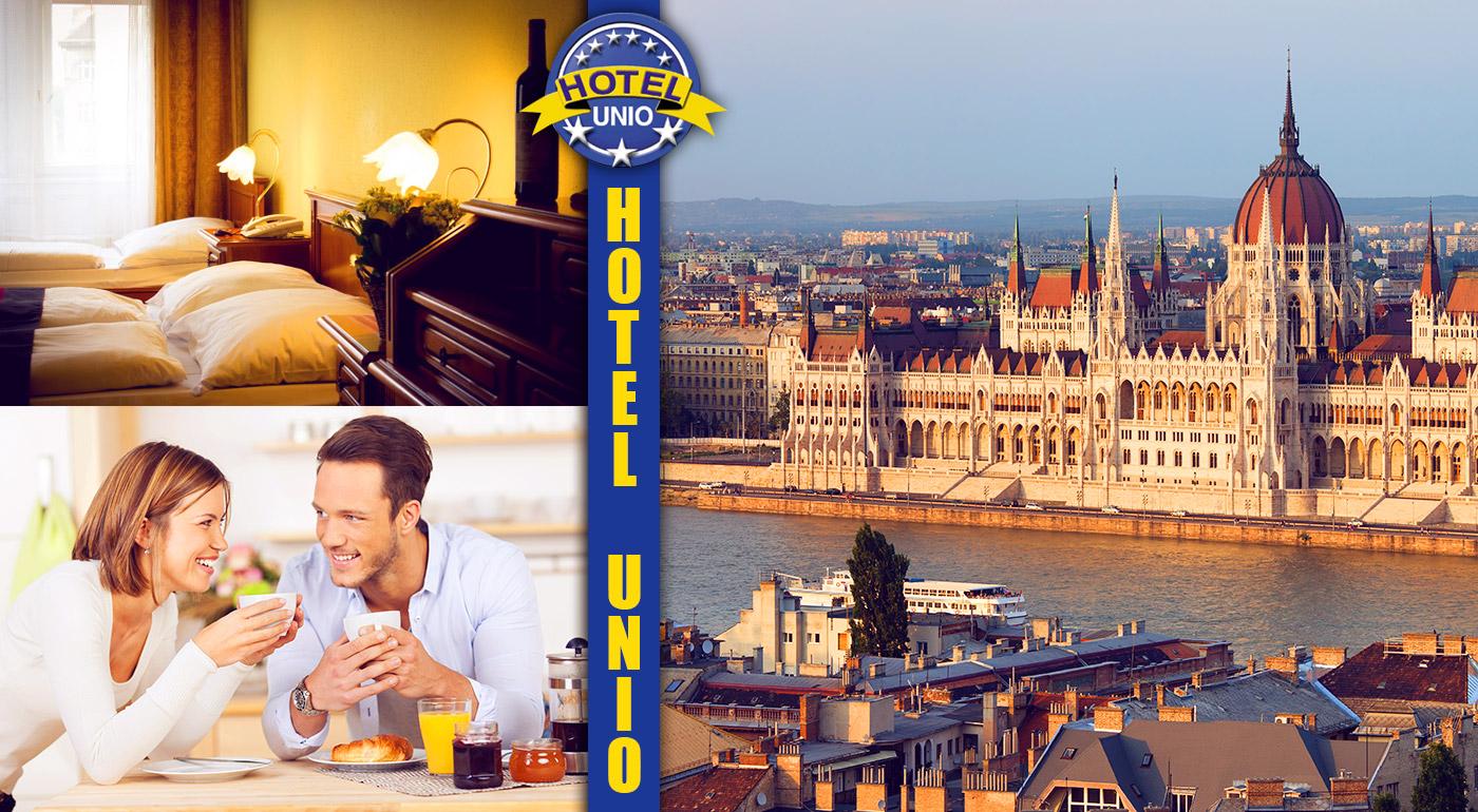 Fotka zľavy: Komfortný City Hotel Unio*** v centre Budapešti iba za 68 € na 3 dni pre dvoch vrátane bohatých raňajok. Urobte si výlet do perly na Dunaji a nasajte jej historickú atmosféru! Dieťa do 6 rokov zdarma.