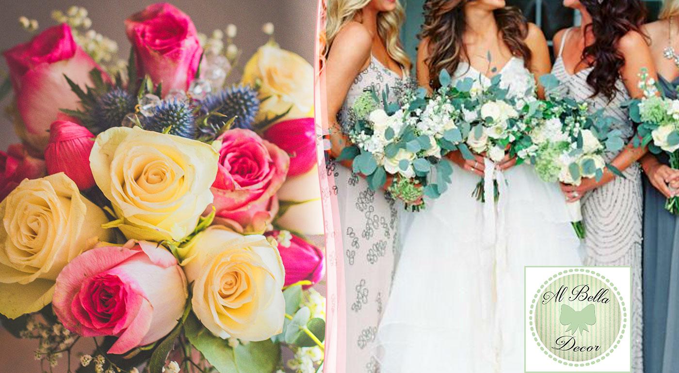 Originálna svadobná kytica z rôznych kvetov 17 ks ( ruze, tulipany,gerbery, chryzantemy + doplnky - gypsophila, eucaliptus, salal, textilné stuhy...)