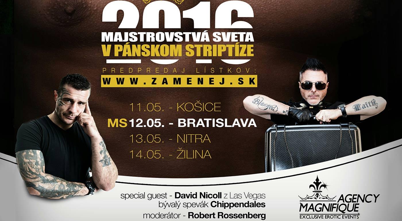 MAJSTROVSTVÁ SVETA V PÁNSKOM STRIPTÍZE 2016 - najlepší striptéri planéty prichádzajú do Bratislavy, Košíc, Nitry či Žiliny