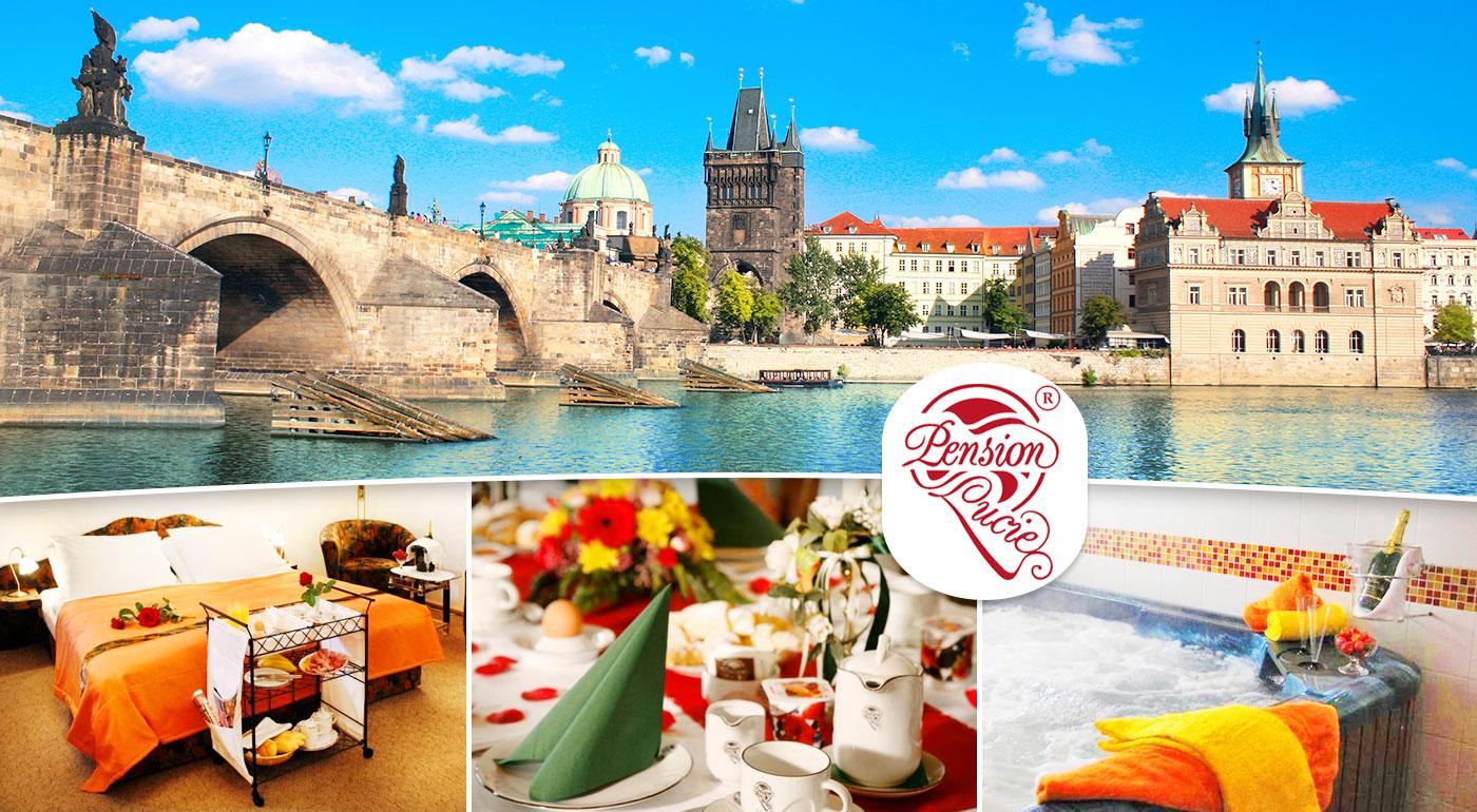 Fotka zľavy: Romantický pobyt pre dvoch v Pensione Lucie**** v Prahe už od 46 € s raňajkami. Zažite krásne spoločné chvíle v stovežatej Prahe s raňajkami do postele, súkromným wellness a fľašou sektu.
