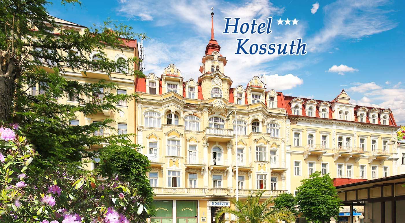 Fotka zľavy: Zabudnite na všetky starosti v Mariánskych Lázňach! Čaká na vás rozmaznávanie v Hoteli Kossuth*** už od 127 € pre dvoch na 3, 4 alebo 6 dní. V cene chutná polpenzia i množstvo blahodarných procedúr!