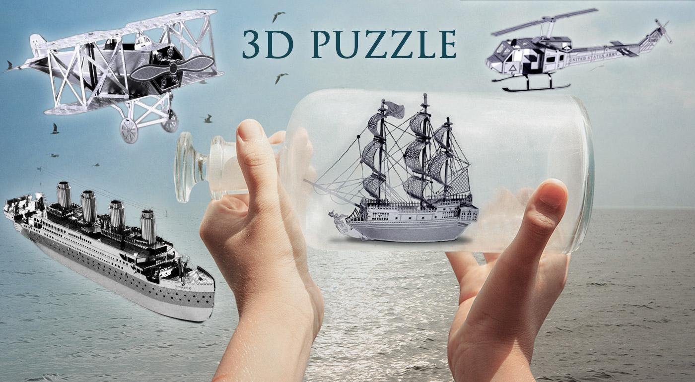 Autentické 3D kovové puzzle modelov lodí a vrtuľníkov - Čierna perla, Titanic, lietadlo, vrtuľník