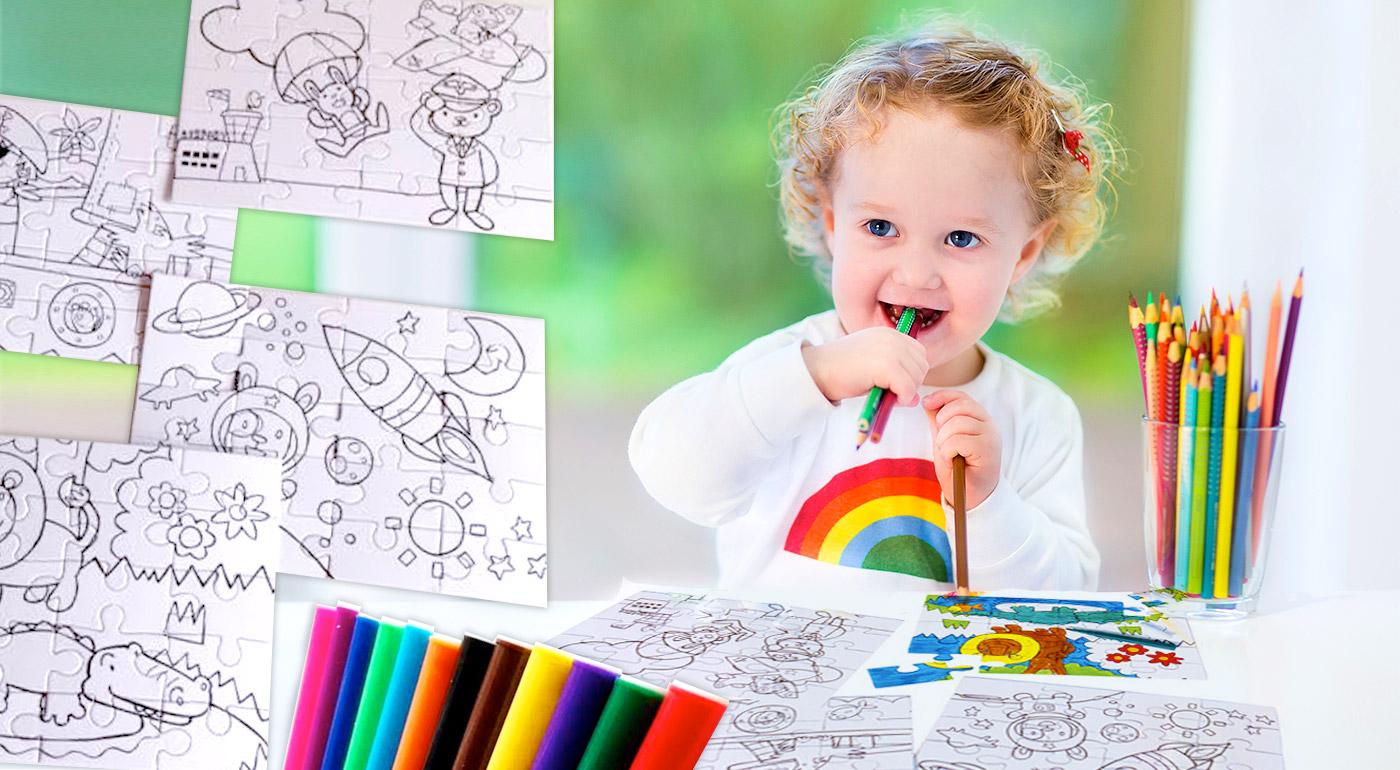 Detské puzzle na vyfarbenie - 4 skladačky a 12 fixiek v balení!