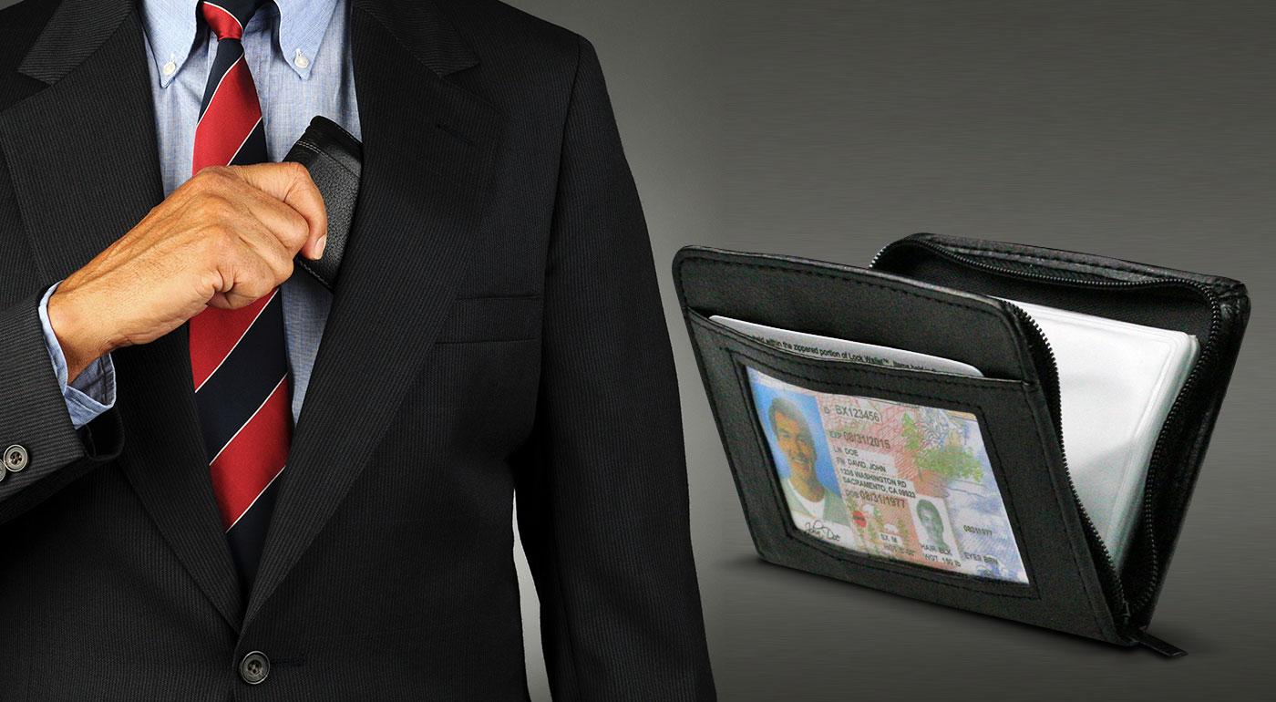 Bezpečná mini peňaženka Lock Wallet na doklady, kreditné karty a drobné mince