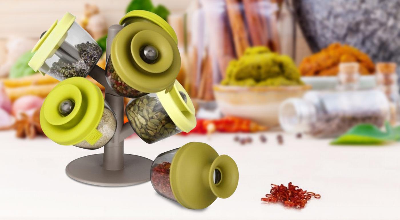 Súprava 6 vákuových koreničiek so stojanom v dizajnovom prevedení - skvelý pomocník do vašej kuchyne