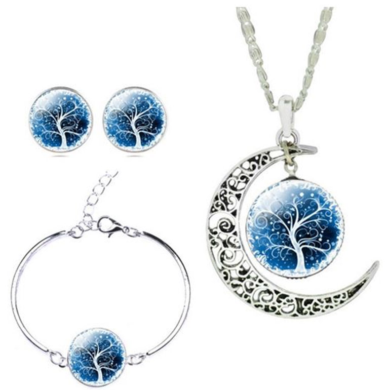 3-dielny set šperkov Strom života modrý (prívesok, náušnice, náramok)