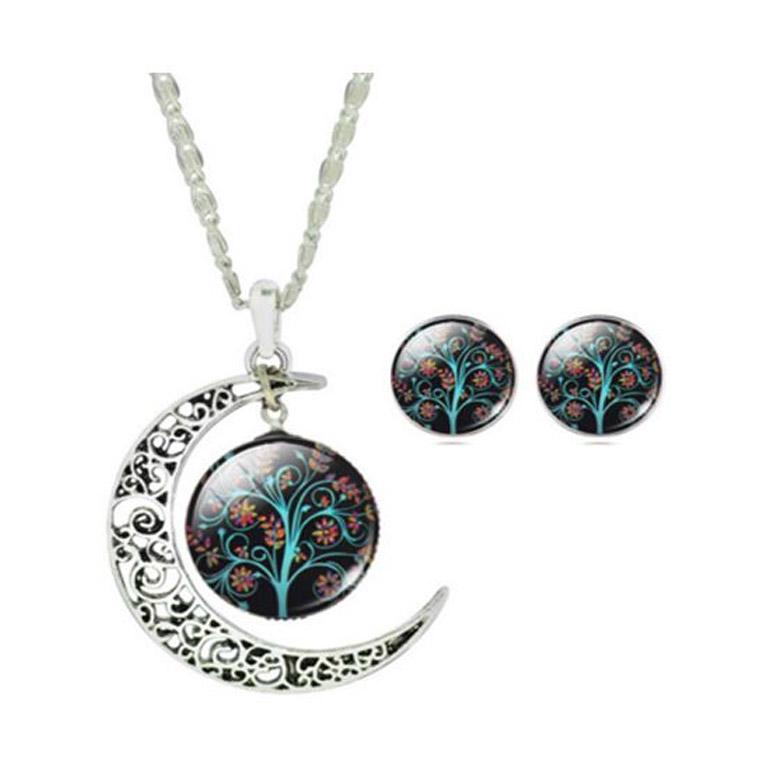 2-dielny set šperkov Strom života čierny (prívesok, náušnice)