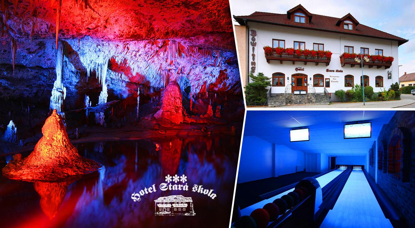 Fotka zľavy: Nájdite stratenú harmóniu vďaka oddychu v Moravskom krase v 3* Hoteli Stará škola už od 87 € pre dvoch na 3 či 4 dni s polpenziou a bowlingom. Obdivujte krásy jaskýň, priepastí, zámkov i prírody!