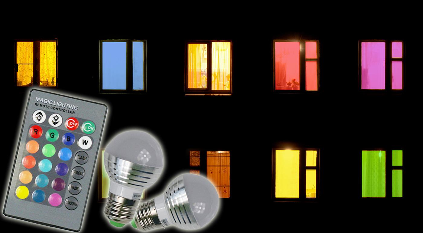 Úsporná žiarovka meniaca až 16 farieb s diaľkovým ovládačom