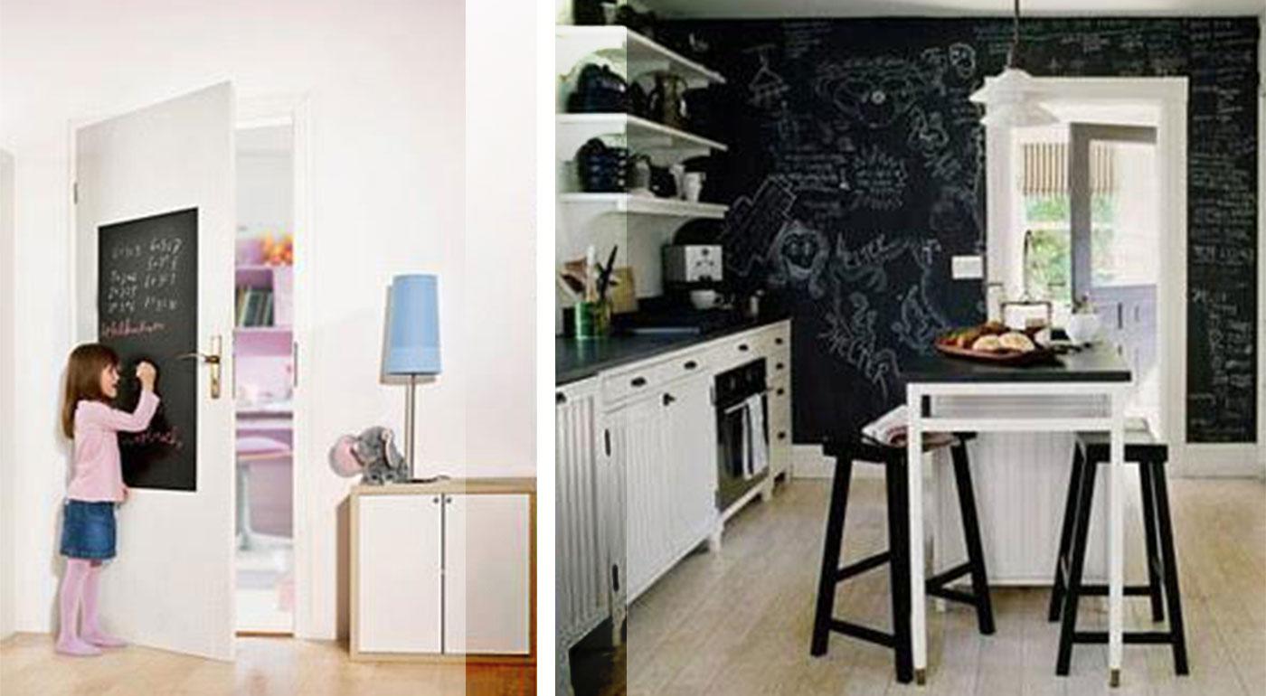 Praktická samolepiaca tabuľa s kriedami na písanie a kreslenie. Originálna dekorácia do domácnosti!