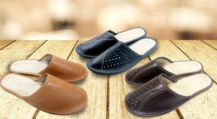 Pánske domáce papuče z ekokože