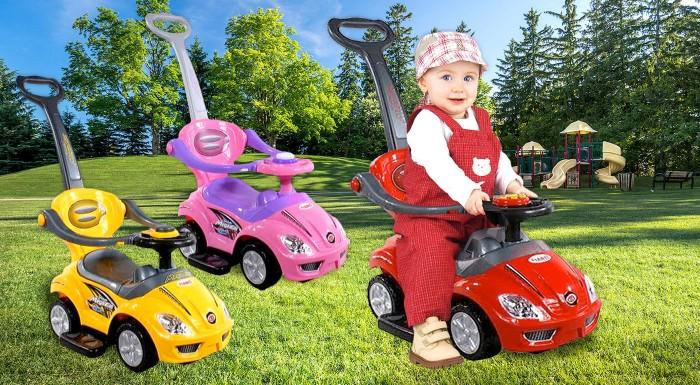 Fotka zľavy: Neprehliadnuteľné odrážadlá pre deti do 3 rokov v atraktívnom dizajne autíčka len za 32,90 €! Odrážadlo je vybavené odnímateľnou rukoväťou, ochranou proti pádu či opierkou nôh. Na výber v 5 farbách!