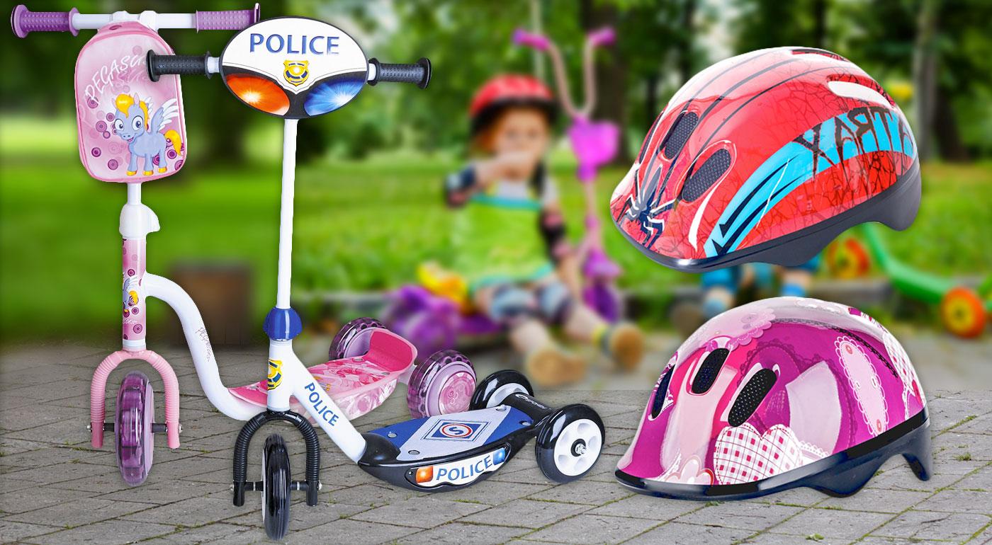 Detská cyklistická prilba a detská trojkolesová kolobežka v rôznych  farebných prevedeniach 40cff06c867