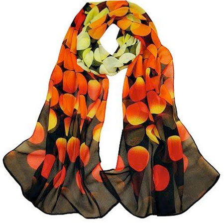 Dámska elegantná hodvábna šatka - oranžové kruhy
