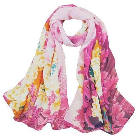 Dámska elegantná hodvábna šatka - ružové kvety