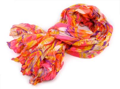 Dámsky šál krčený: ružová multicolor