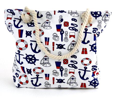 Dámska plážová taška s malými kotvičkami - biela