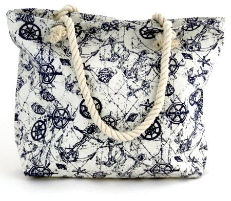 Dámska plážová taška s kormidlami - biela