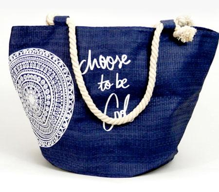 Dámska plážová taška s kruhom - modrá
