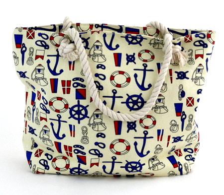 Dámska plážová taška s malými kotvičkami - smotanová