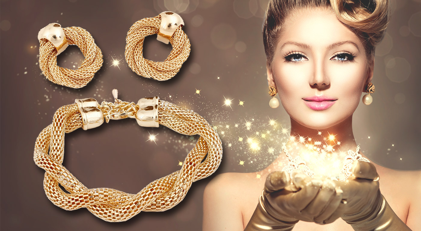Luxusný 4-dielny set šperkov v zlatej farbe pre každú ženu!