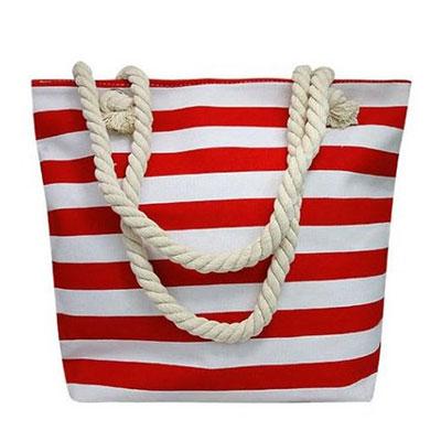 Plážová taška vzor: červené pásiky