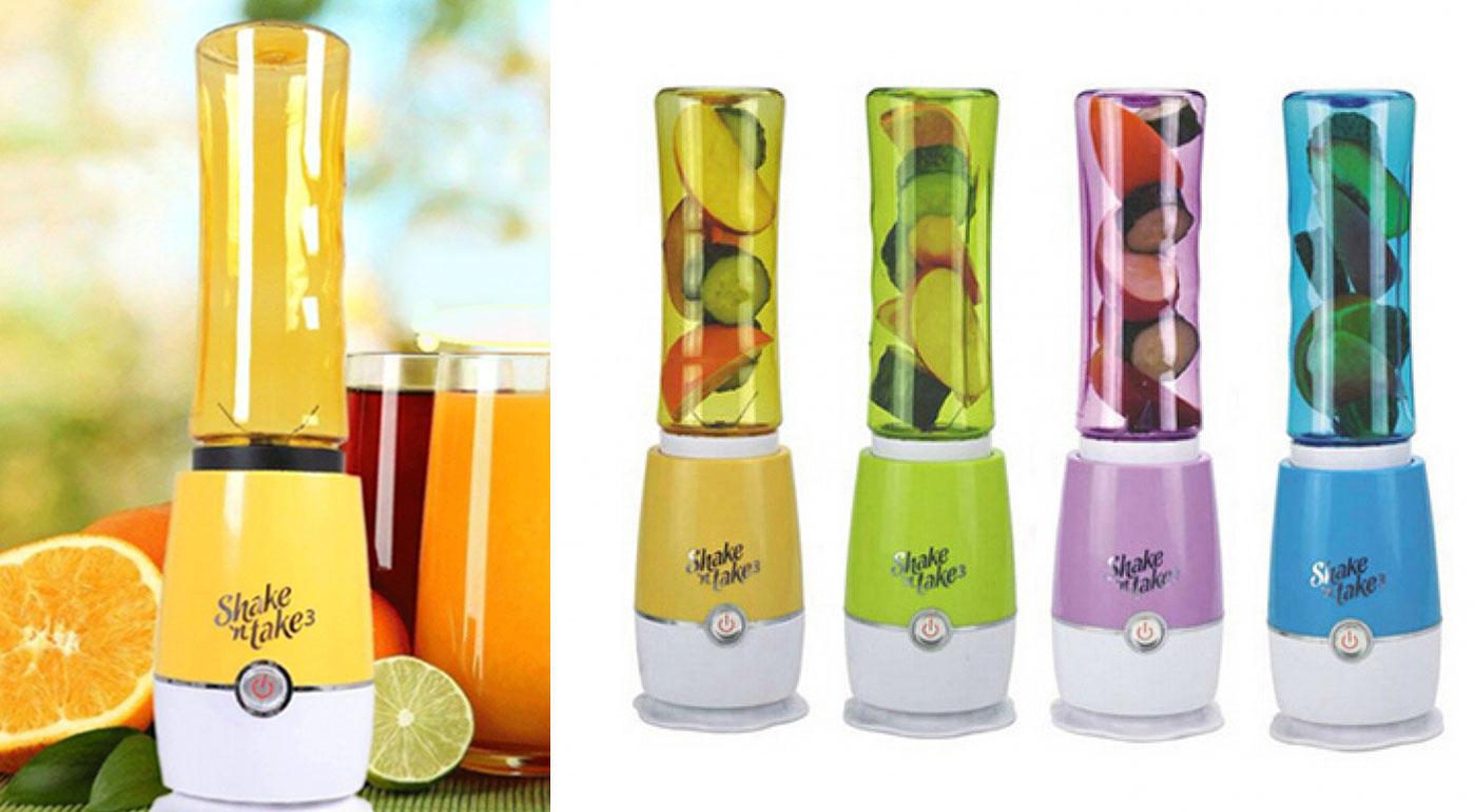 Praktický smoothies mixér Shake 'n take vám pripraví vitamínovú bombu za pol minúty! Potočte nádobkou a máte z nej praktickú fľašku!