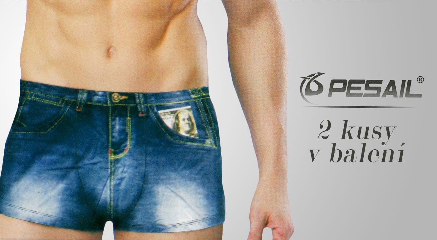 Pánske boxerky s imitáciou riflí - v balení 2 ks - veľkosť XXL