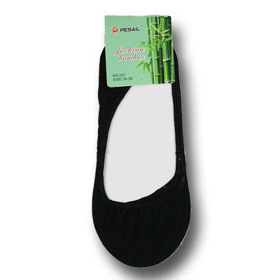 Dámske bambusové ponožky do balerínok - 5 párov - čierna farba