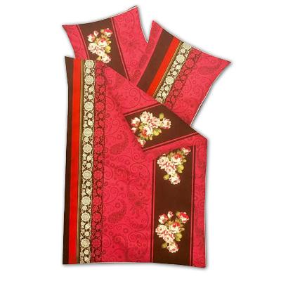 Model B - Dvojdielne obliečky z mikrofázy - červené ornamenty, vankúš 80 cm x 80 cm, perina 135 x 200 cm