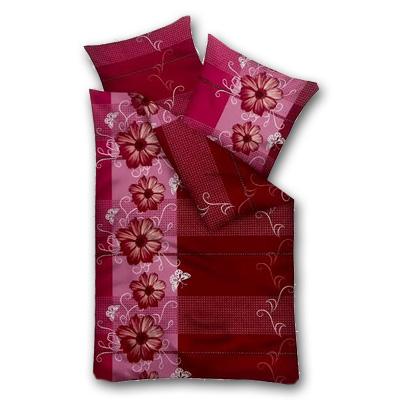 Model D - Dvojdielne obliečky z mikrofázy - bordové kvety, vankúš 80 cm x 80 cm, perina 135 x 200 cm