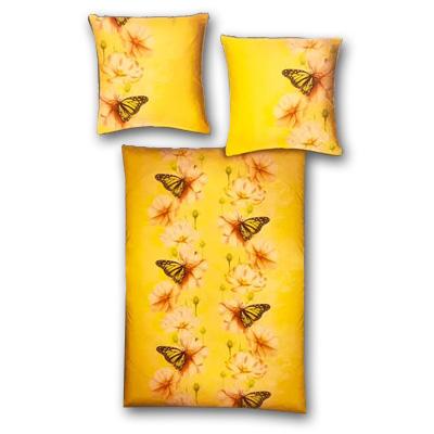Model F - Dvojdielne obliečky z mikrofázy - žlté motýle, vankúš 80 cm x 80 cm, perina 135 x 200 cm