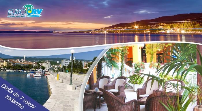 Fotka zľavy: Horúca 8-dňová letná dovolenka v chorvátskej Crikvenici v Hoteli Riviera** už od 225 €. V cene ubytovanie, polpenzia a navyše dieťa do 7 rokov zdarma.
