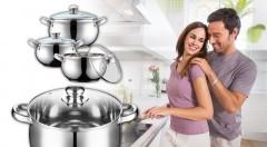 Zľava 40%: Kvalitná 6-dielna sada nerezových hrncov len za 28,99 €. Oceníte zdravé varenie bez tukov, šetrenie energií, pokrievky s teplomerom a jednoduché čistenie.
