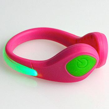 LED bezpečnostné svetlo na topánky: ružový klip + zelené svetlo