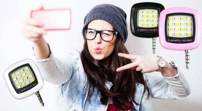Fotka zľavy: Perfektné nočné fotky vykúzlite jedine s dobrým osvetlením. Vďaka LED osvetleniu na mobil len za 5,90 € sa budete môcť pochváliť tými najkrajšími selfie! Svetlo s 3 intenzitami svetla v 3 farbách!